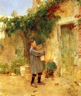 Boy with Flower Pots painting reproduction, Childe Hassam
