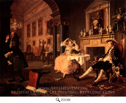 Painting Reproduction of Breakfast Scene from Marriage a la Mode, William Hogarth