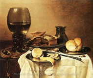 Breakfast Still Life with Roemer, Meat Pie, Lemon and Bread painting reproduction, Pieter Claesz