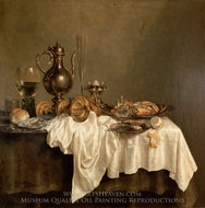 Breakfast with a Lobster painting reproduction, Willem Claesz Heda