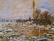 Breakup of Ice, Grey Weather painting reproduction, Claude Monet
