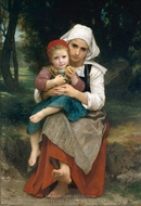 Breton Brother and Sister painting reproduction, William Adolphe Bouguereau
