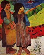 Breton Girls by the Sea painting reproduction, Paul Gauguin