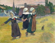 Breton Girls Dancing Around in the Haystacks painting reproduction, Paul Gauguin