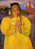 Breton Woman in Prayer painting reproduction, Paul Gauguin