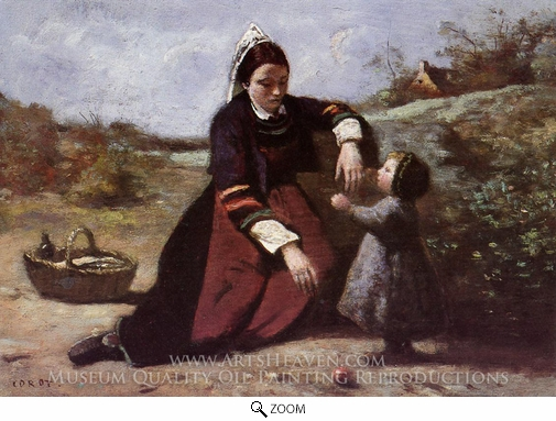 Painting Reproduction of Breton Woman With Her Little Girl, Jean-Baptiste Camille Corot