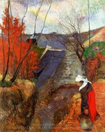 Breton Woman with Pitcher painting reproduction, Paul Gauguin