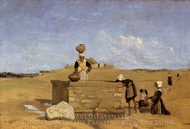 Breton Women at the Fountain painting reproduction, Jean-Baptiste Camille Corot