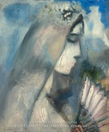 Bride with a Fan by Marc Chagall (inspired by)