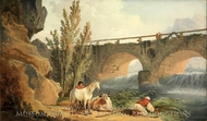Bridge over a Cascade painting reproduction, Hubert Robert