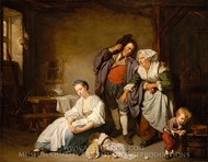 Broken Eggs painting reproduction, Jean Baptiste Greuze