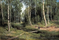 Brook in Birch Forest painting reproduction, Ivan Shishkin