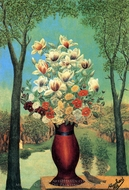 Bunch of Flowers in a Landscape painting reproduction, Andre Bauchant