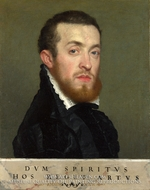 Bust Portrait of a Young Man with an Inscription by Giovanni Battista Moroni
