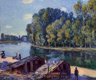 Cabins along the Loing Canal, Sunlight Effect painting reproduction, Alfred Sisley