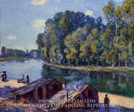 Cabins along the Loing Canal, Sunlight Effect by Alfred Sisley