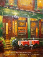 Cafe Shop at Night painting reproduction, Various Artist