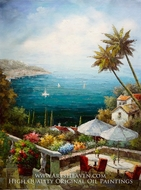 Cafe Shop Overlooking Bay painting reproduction, Various Artist