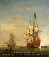 Calm: An English Sixth-Rate Firing a Salute as a Barge Leaves with a Royal yacht Nearby by Willem Van De Velde, The Younger