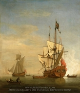 Calm: An English Sixth-Rate Firing a Salute as a Barge Leaves with a Royal yacht Nearby painting reproduction, Willem Van De Velde, The Younger