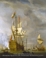 Calm: HMS Royal Sovereign with a Royal Yacht in a Light Air by Willem Van De Velde, The Younger