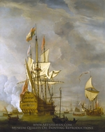 Calm: HMS Royal Sovereign with a Royal Yacht in a Light Air painting reproduction, Willem Van De Velde, The Younger