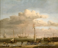 Calm: the Dutch Coast with a Weyschuit Being Launched and Another Vessel Pushing off from the Shore painting reproduction, Willem Van De Velde, The Younger