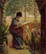 Camille Embroidering painting reproduction, Claude Monet