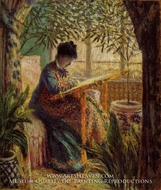 Camille Embroidering by Claude Monet