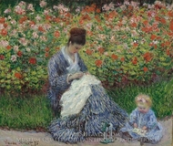 Camille Monet and a Child in the Artist's Garden in Argenteuil painting reproduction, Claude Monet