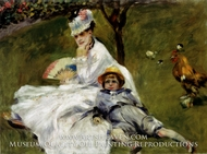 Camille Monet and her Son Jean in the Garden at Argenteuil by Pierre-Auguste Renoir