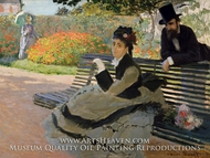 Camille Monet on a Garden Bench painting reproduction, Claude Monet