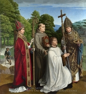Canon Bernardijn Salviati and Three Saints painting reproduction, Gerard David