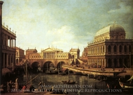 Capriccio: A Palladian for the Rialto Bridge, with Buildings at Vicenza painting reproduction, Canaletto