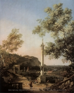 Capriccio: River Landscape with a Column, a Ruined Roman Arch, and Reminiscences of England painting reproduction, Canaletto