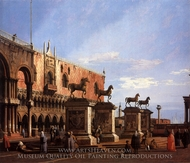 Capriccio: the Horses of S. Marco in the Piazzetta painting reproduction, Canaletto