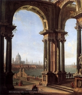 Capriccio with a View of the Thames and St. Paul's painting reproduction, Canaletto