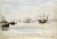 Caravels and Warships, North River from 96th Street; May 3, 1893 painting reproduction, Reynolds Beal