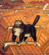 Cat on a Roof painting reproduction, Fernando Botero