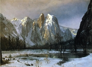 Cathedral Rocks, Yosemite Valley, California painting reproduction, Albert Bierstadt