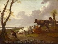 Cattle painting reproduction, Heinrich Wilhelm Schweickhardt