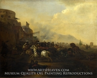 Cavalry Attacking a Fortified Place painting reproduction, Hendrick Verschuring