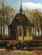 Chapel at Nuenen with Churchgoers painting reproduction, Vincent Van Gogh
