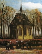 Chapel at Nuenen with Churchgoers by Vincent Van Gogh