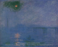 Charing Cross Bridge, Fog on the Thames painting reproduction, Claude Monet
