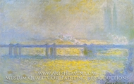 Charing Cross Bridge, Overcast Weather by Claude Monet