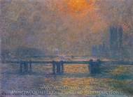 Charing Cross Bridge, the Thames painting reproduction, Claude Monet