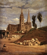 Chartres Cathedral painting reproduction, Jean-Baptiste Camille Corot
