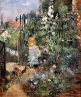 Child in the Rose Garden painting reproduction, Berthe Morisot