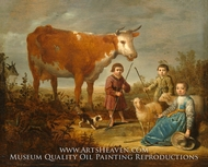 Children and a Cow painting reproduction, Aelbert Cuyp